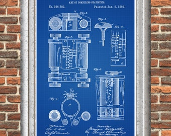 First Computer Poster, Computer Patent, Hollerith Machine, First Computer Print, Technology Art, Computer Decor, Programmer Gift P186