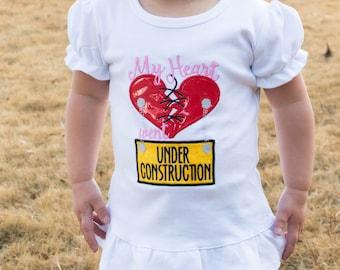 CHD  Warrior / My heart went under Construction / Congenital Heart Defect  personalized Girl or Boy short sleeve bodysuit or Shirt