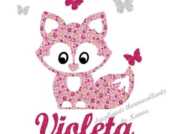 Applied fusible personalized little Fox pink