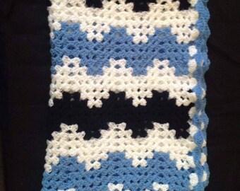 Hand crochet ripple blanket