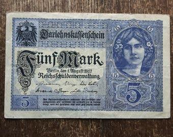 Old Germany Funf 5 Mark Banknote 1917,Old German Banknote 5 mark