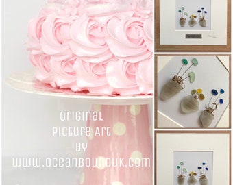 Blooming Beauties. Original Picture Art with Genuine Sea Glass. Personalised and Customised. Handmade in the U.K.