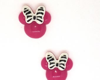 "Set of 2-1"" hot pink or black Minnie Mouse Hair Bow Centers, Flat back Resins, Cabochons, Craft Supply, Embellishments"