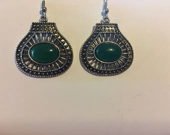 Dark Green and Antique Silver Earrings   V6