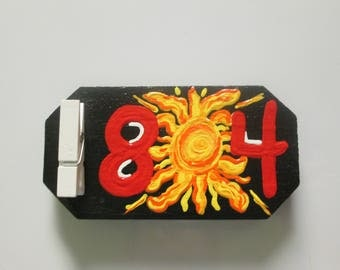 804 magnet, 804 area code, eight zero four, hand painted wooden magnet with clip