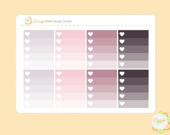 Pink Skeleton Ombre Checkboxes, Pink Skeleton Checklist Stickers, Planner Stickers, Erin Condren Life Planner, Happy Planner