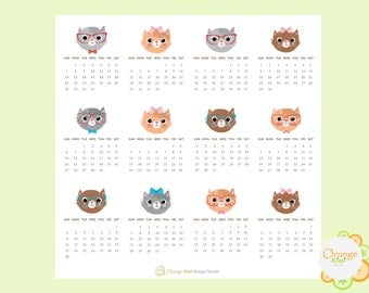 2018 Calendar Stickers Cat Themed, 2018 Mini Monthly Calendar Stickers, Mini Monthly Stickers, Erin Condren Life Planner