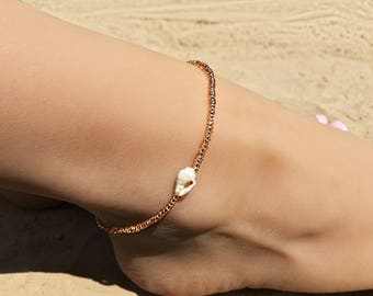 Rose Gold Anklet, Ankle Bracelet, Foot Bracelet, Shell Anklet, Beaded Anklet, Beach Anklet, Beach Jewelry, Shell Jewelry, Boho Anklet