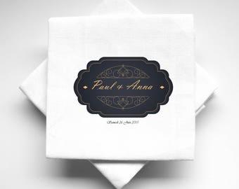 10 napkins wedding personalized oriental fabric 2