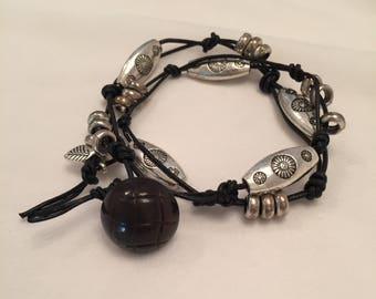 Pewter Knotted Wrap Bracelet