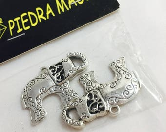 2 large charms metal elephant silver 32 x 22 mm