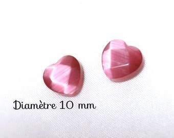 2 glass beads faceted heart - 10 mm - light pink cat's eye
