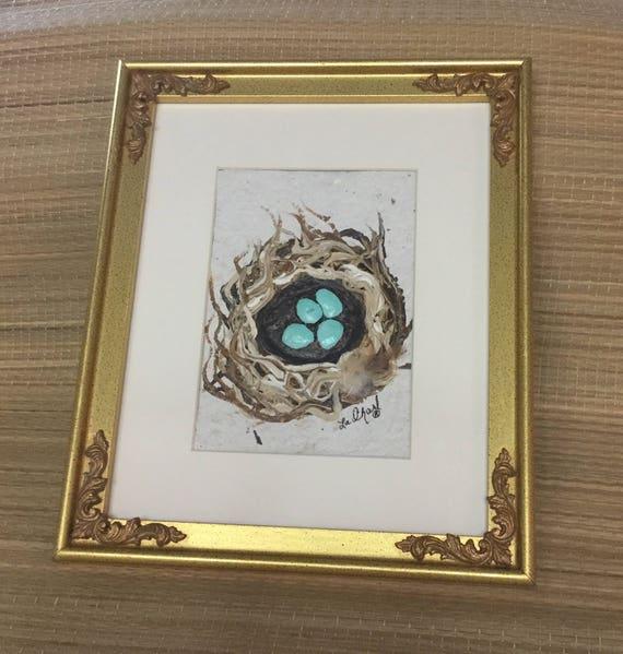 Elegant bird nest painting for babies room