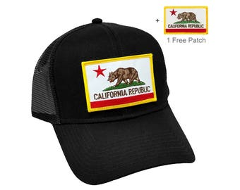 California Republic US State Flag Patch Trucker Adjustable Snapback Mesh back Baseball Cap Hat  + 1 free patch promotion