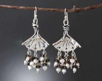 Sterling Silver Ginkgo Earrings with Pearl & Smoky Quartz - Freshwater Pearl Earrings - Smoky Quartz Earrings - Leaf Earrings -Gray Earrings
