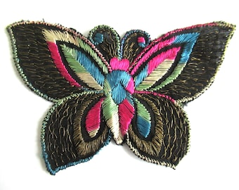 Applique, 1930s vintage embroidered butterfly applique. Sewing supply. Applique, Crazy quilt #64AGC8K2C