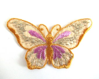 Butterfly applique, 1930s vintage embroidered applique. Vintage patch, sewing supply. Applique, Crazy quilt #6A8G43KB
