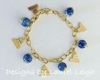 GOLD Chinoiserie Charm Bracelet   pagoda, adjustable, beaded, blue and white, Designs by Laurel Leigh, dainty