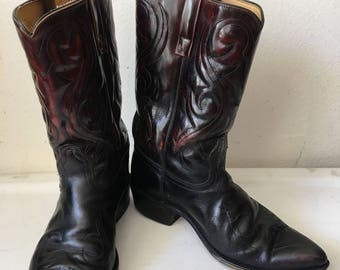 Black men's boots from leather rigid&genuine leather vintage style western boots cowboy boots old boots retro boots men's size-10-10 1/2 D.
