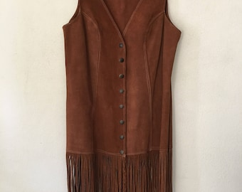 Fashionable Long Vintage Brown Western Genuine Suede Vest With Suede Fringe Lightweight Women's Size Small.