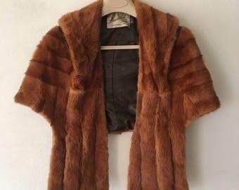 Beautiful women's bolero from real mink fur soft fur festive look old bolero short bolero vintage style retro bright brown size-universal.