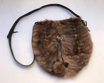 Sable fur hand made shoulder bag made in USA.