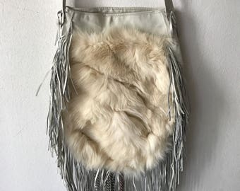 White women's bag from real polar fox fur and leather with fashionable leather fringe and beads designer bag handmade new bag has size-big.