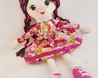 Handmade cloth ragdoll, pink purple skirt with pink ballet shoes.Birthday gift collectable doll.Gift for a girl. Doll embroidered face.Gift