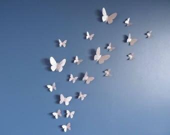 Set of silver 3D (glitter) for wall decor butterflies