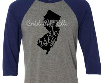 New Jersey t-shirt - New Jersey state shirt - New Jersey home t-shirt - home shirt - New Jersey baseball shirt - New Jersey raglan shirt