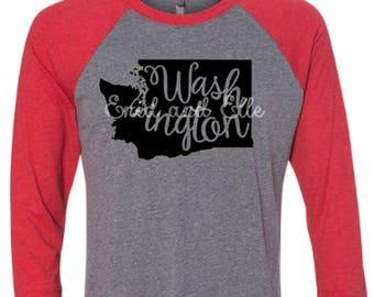 Washington t-shirt - Washington state shirt - Washington home t-shirt - home shirt -Washington baseball shirt - Washington raglan shirt