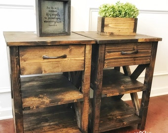 Nightstand with 2 shelves 17x17x25/ farmhouse nightstand/ farmhouse table/ end table/ nightstand/ rustic nightstand