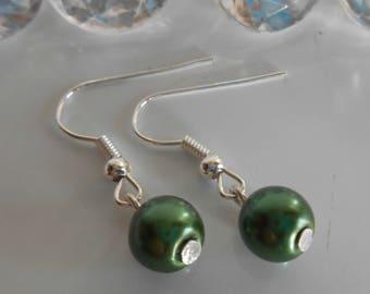 Wedding earrings dark green beads