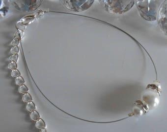 Wedding bracelet white pearls and rhinestones