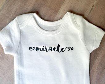 Premie Infant Bodysuit, Rainbow Baby 'Miracle' Body Suit With Custom Color, New Baby Shower Gift, Pregnancy Announcement Idea After Loss