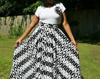 Ankara maxi skirt - high waist maxi skirt - African print full circle skirt - maxi skirt - Swing skirt - FREE US SHIPPING