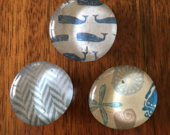 Set of three glass marble magnets