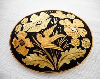 Vintage Toledo Gold Bird & Floral Oval Brooch (C644)