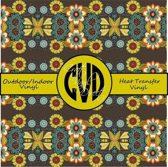 Floral Patterned Vinyl // Patterned / Printed Vinyl // Outdoor and Heat Transfer Vinyl // Pattern 263