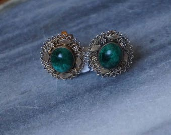 Silver Filigree earrings with malachite, 925, Israel