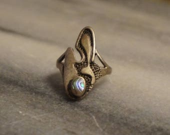 925 Sterling silver ring, size 5, with 4.67gram, nice patina applied, with mother of pearl