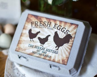 Custom egg carton labels chalkboard style full dozen custom egg carton labels vintage style rooster at sunrise customized egg carton label pronofoot35fo Gallery