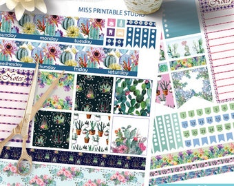 Cactus Succulents Big HP Planner Stickers, Big HP Cactus Planner Stickers, Monthly Planner Kit, Printable Stickers, Monthly Planner, Cactus