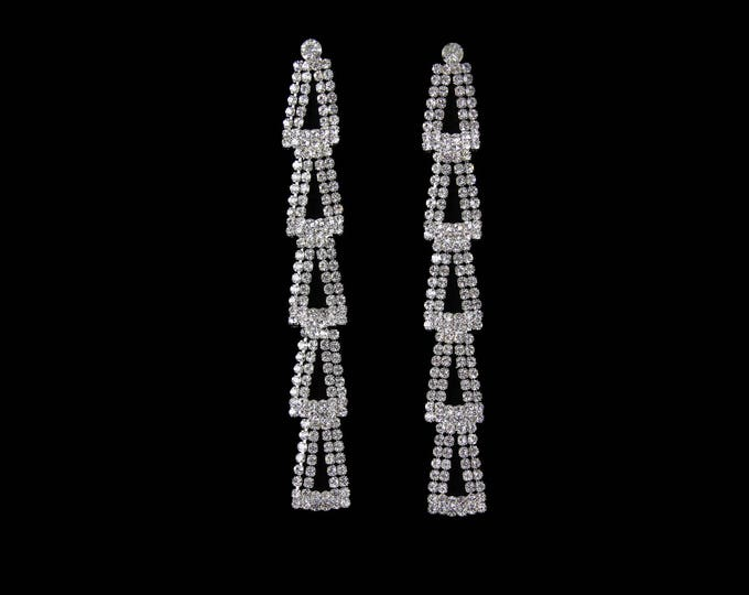 Clara Long Clear Crystal NPC Bikini Fitness Competition Earrings