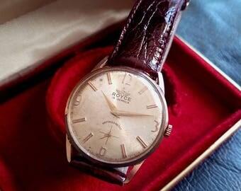OFFER SWISS ROYCE Wrist Watch, Vintage 1950's Swiss Made Royce Men's Watch, Men's Swiss Watch, Vintage Royce  Watch, Royce Gold Plated Watch