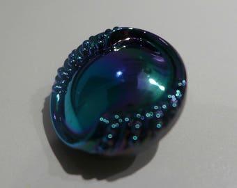 Czech glass button - blue, violet, green - 23 mm