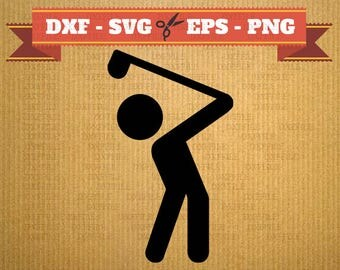Golf SVG file vector files for cricut, Golfman cutting files, clipart golf, DXF files golf man, silhouette Golfs, svg golf, cut file