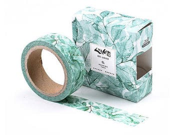 Green snowy floral/ Washi Tape, Masking Tape, Planner Stickers