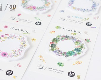Floral sticky notes -Sticky Notes, Medical Plaster Post It Notes, Reminder Notes, Memo Pad Stickers, Planner Page Marker Stickers