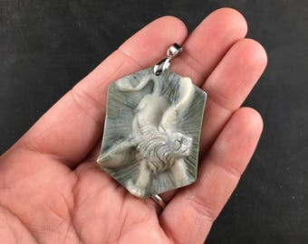 Flying Angel Winged Lion Jewelry Necklace Pendant Carved Ribbon Jasper Stone